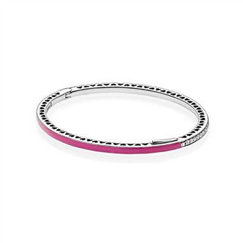 Radiant Hearts of PANDORA Bangle Bracelet, Radiant Orchid Enamel & Clear CZ 590537EN69