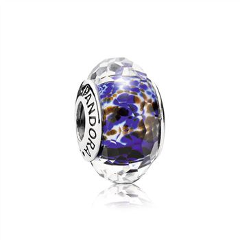 Abstract faceted fritt silver charm with blue, white and brown murano glass 791609