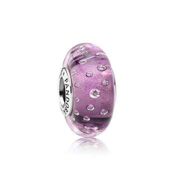 Purple Effervescence Charm, Murano Glass & Clear CZ 791616CZ
