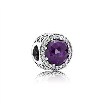 Pandora Radiant Hearts Charm, Royal-Purple Crystal & Clear CZ 791725NRP