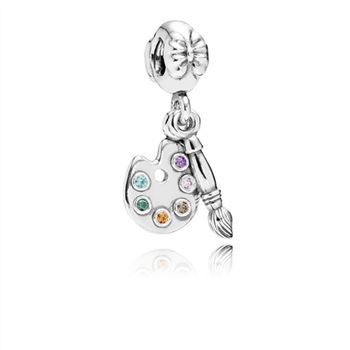 Artist's Palette Dangle Charm, Multi-Colored CZ 791268CZMX