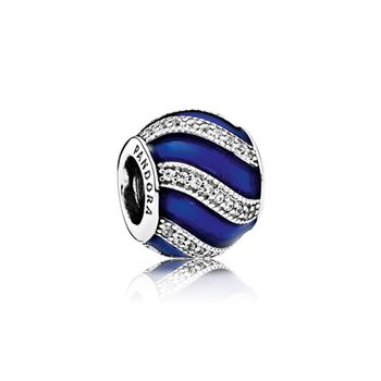 Pandora Adornment Charm, Transparent Royal-Blue Enamel & Clear CZ 791991EN118