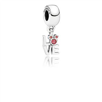 Disney Mickey LOVE silver dangle with red cubic zirconia 791448CZR