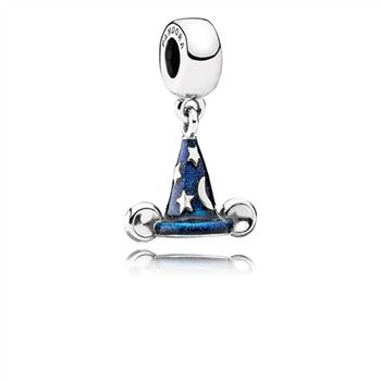Disney Mickey sorcerer hat silver dangle with blue enamel 791466EN64
