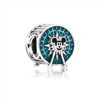 Disney Mickey Fun Wheel silver charm with blue and black enamel 791560ENMX