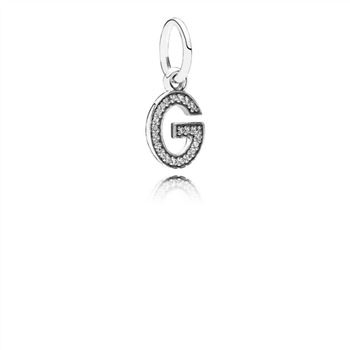 Letter G Dangle Charm, Clear CZ 791319CZ