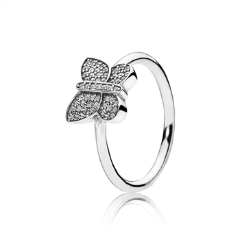 Sparkling Butterfly Ring, Clear CZ 190938CZ