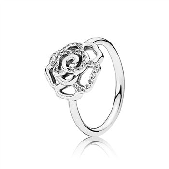 Silver Rose Ring With Clear Cubic Zirconia 190949cz