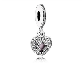 Pandora Angel Wings Dangle Charm, Clear CZ & Pink Enamel 791737CZ